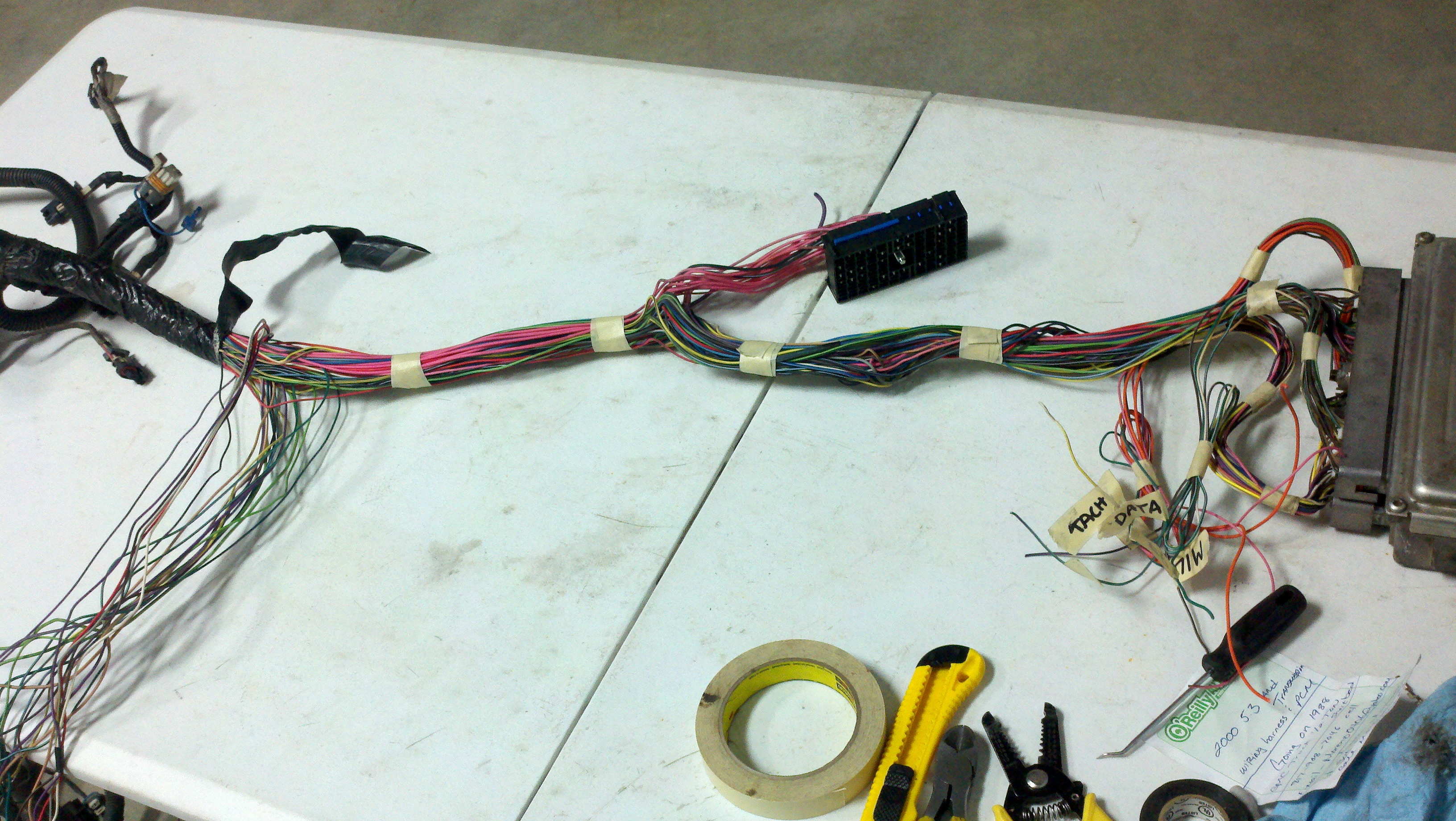 Vortec 48 53 60 Wiring Harness Info Standalone Ls1 And Continue With The Masking Tape To Hold In Its Stock Shape
